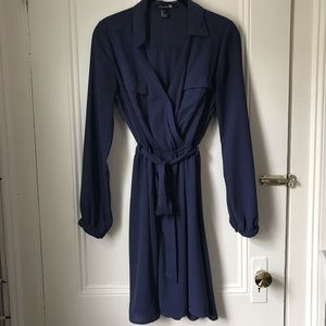 Forever 21 Navy Blue Faux Wrap Long Sleeve Dress